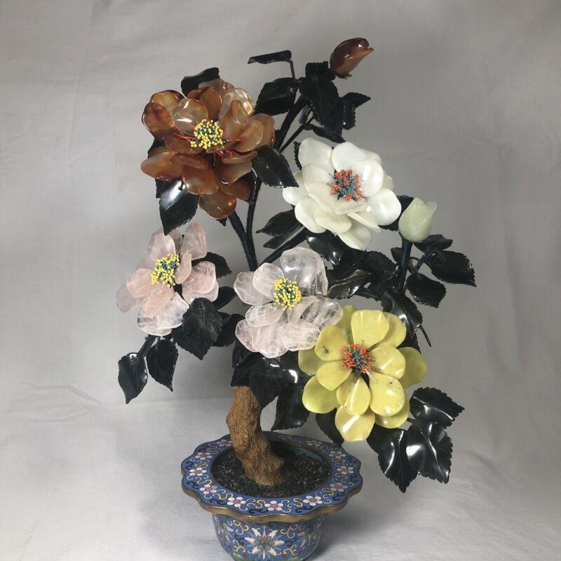 "Vintage Lg White Jade Agate Rose Quartz Stone 16"" High Blossom Bonsai Tree EUC!!"