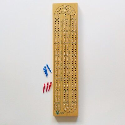 "Wooden cribbage board 2 Lane Continuous track crib X-308 Wood with pegs 13"" x 3"" for sale  Greenfield Park"