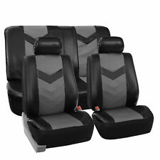 Complete PU Leather Car Seat Covers Set Gray Black For Car SUV Truck