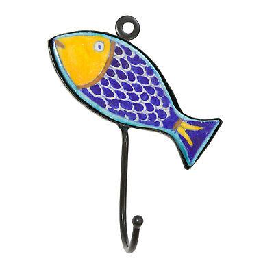 Wandhaken Gaderobenhaken Kleiderhaken Fisch handbemalte Keramikverzierung  (Kleiderhaken Fisch)