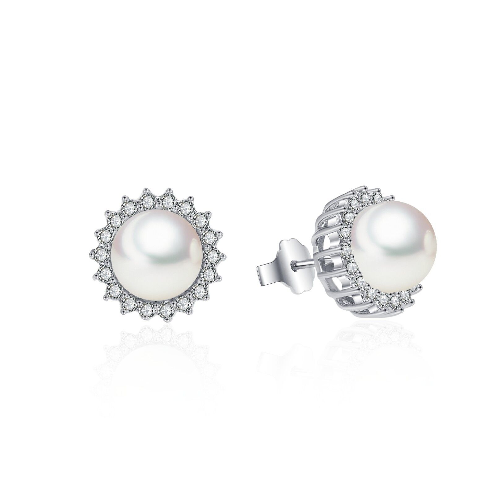 Details About Sunshine Pearl Cz Stud Earrings Aaa Cubic Zirconia 14k White Gold Clad Br