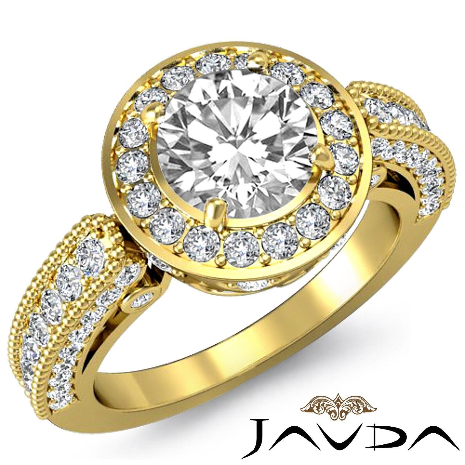 Milgrain Edge Halo Round Diamond Engagement Filigree Bezel Ring GIA F VS1 2.5Ct