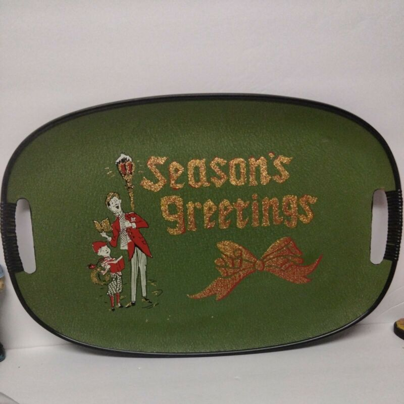 Antique Vintage Tray Christmas Seasons Greetings Mid Century Rare! Beautiful 50s