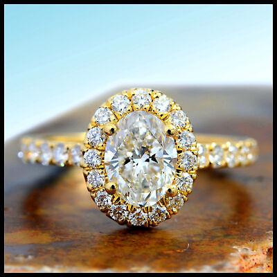 1.65 Ct. Oval Cut Halo Natural Diamond Engagement Ring Pave D, VVS1 GIA Cert 14k 1