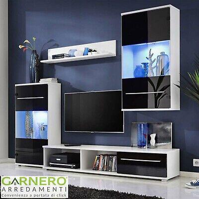 Parete attrezzata moderna LOREN bianco nero mobile soggiorno TV design pensili