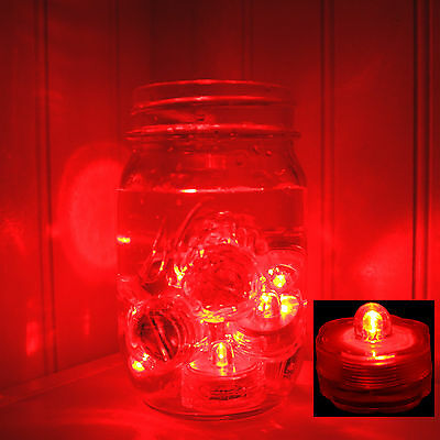 (RED) 24 pcs LED Submersible Battery Tea Lights WEDDING CENTERPIECE- FREE US SHP - Red Centerpieces