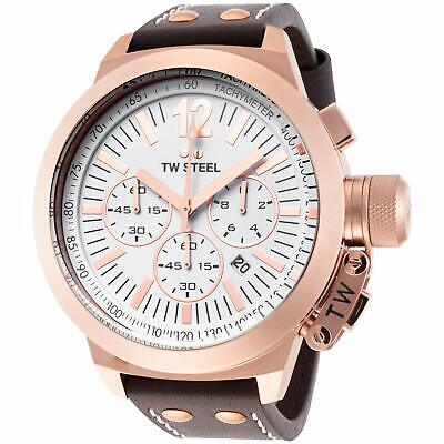 NEW TW Steel Men's CEO Canteen Chronograph Leather Watch - CE1020