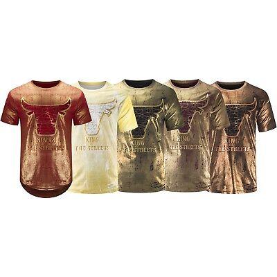 New Men Bulls T-Shirt Gold Foil Legend King Of The Streets Short Sleeve S-3XL