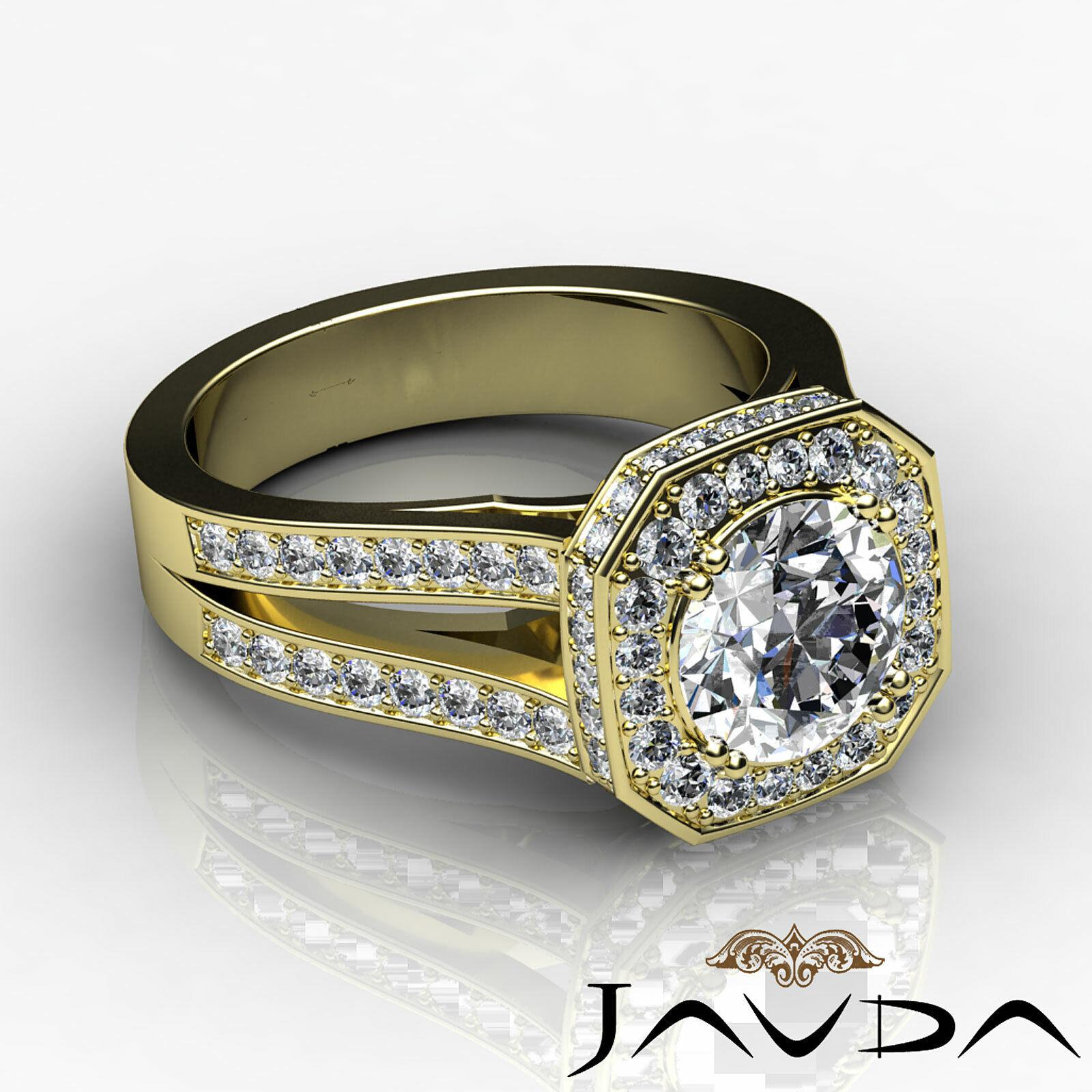 Hexagon Halo Split Shank Round Diamond Engagement Ring GIA F VS1 Clarity 2.84Ct 8