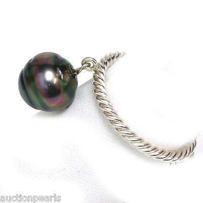 10 Mm Pearl Ring - Tahitian Pearl charm Ring 10 mm Peacock
