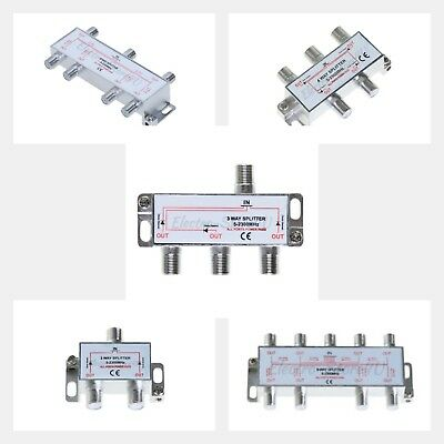 Coaxial Cable Splitter 2 3 4 6 8 Way RG6 RG59 Coax 5-2300 MHz Satellite HDTV  Rg6 Cable Splitter