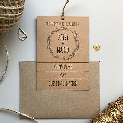 LAVENDER WEDDING INVITATIONS / TIERED VINTAGE INVITES / RUSTIC BOHEMIAN KRAFT Lavender Wedding Invitations