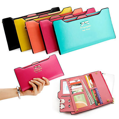 Purse Wallet (Women Long Leather Thin Wallet Cute Bow Purse Multi ID Credit Card Holder)