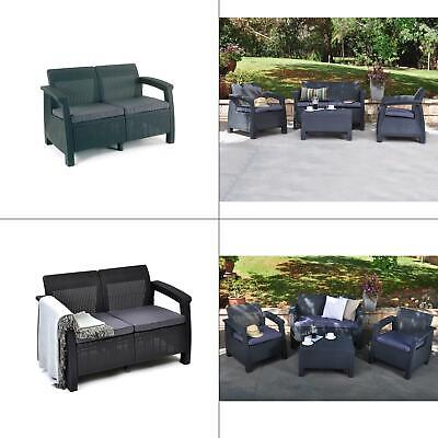 Keter Corfu Love Seat All Weather Outdoor Furniture w/ Cushi