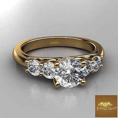 5 Stone Trellis Setting Round Diamond Engagement Prong Ring GIA F Color SI1 1Ct  5