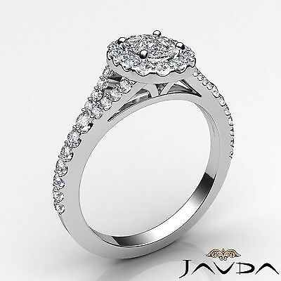 Halo Split Shank French U Pave Cushion Diamond Engagement Ring GIA F VS2 1.21 Ct 1