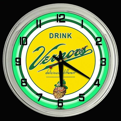 """16"""" VERNORS Deliciously Different Ginger Ale Sign Green Neon Clock"""