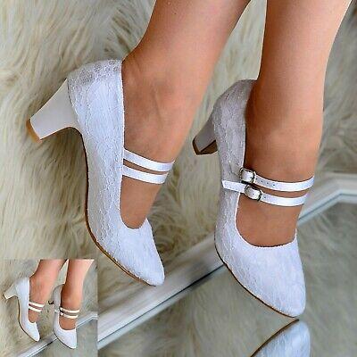 Womens Mary Jane Bridal Shoes Lace Wedding Low mid Block Heel Full toe Pumps - Heel Mary Jane Pump