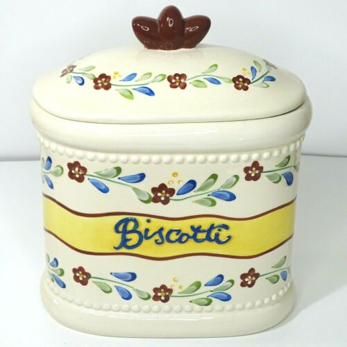 Nonnis Biscotti Cookie Jar Handmade Container Flowers Ivory Blue Red