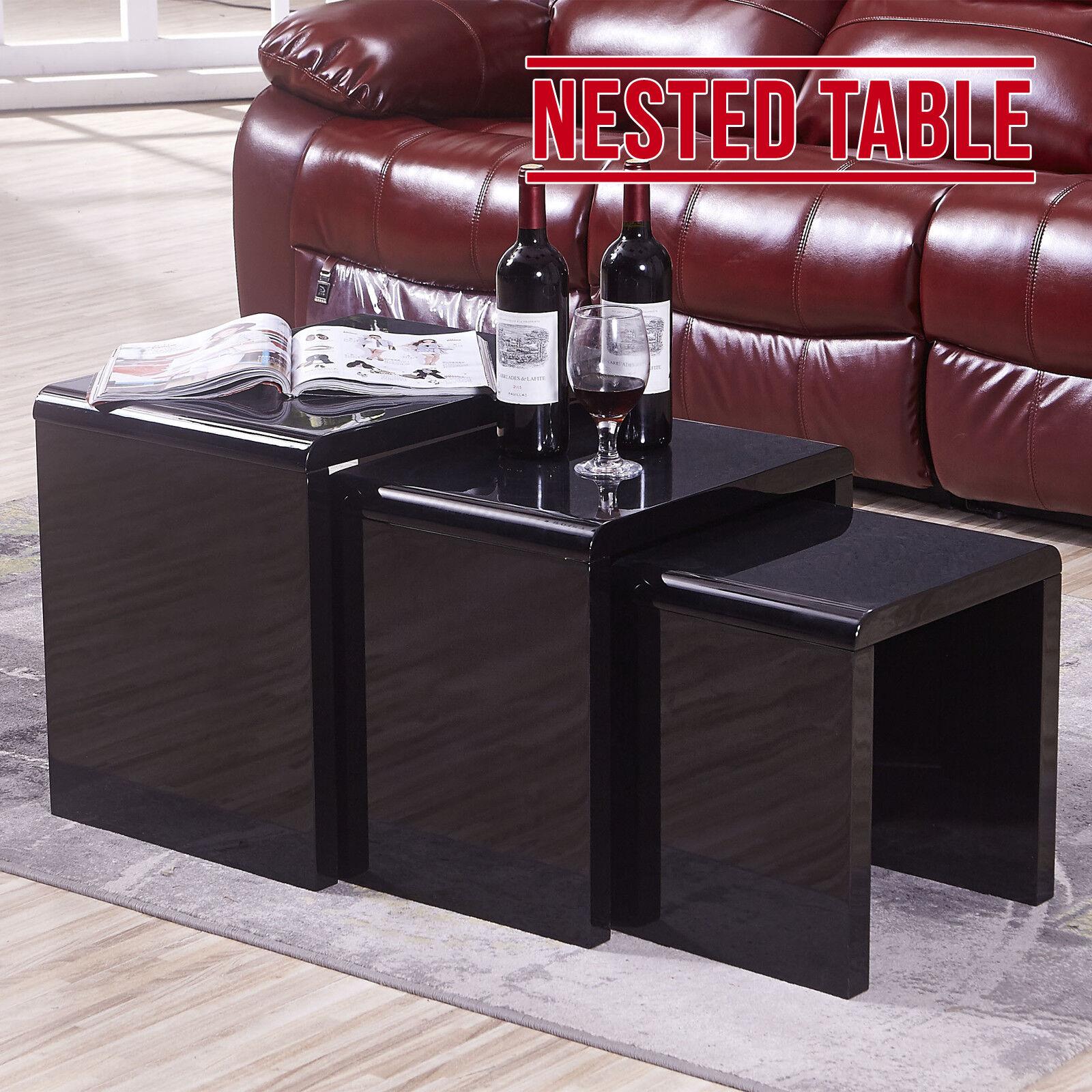 Modern High Gloss Nest Of 3 Coffee Side Table Living Room Design Black Furniture