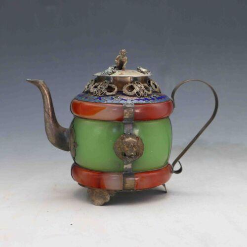 Chinese Handwork Old Jade bracelet inlayTibet Silver dragon teapot /&Monkey Lid