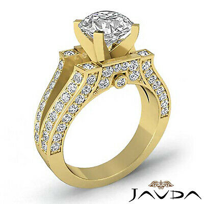 Split Shank Bezel Pave Setting Round Diamond Engagement Ring GIA F VS2 1.71 Ct 7