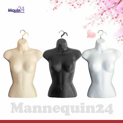 3 Mannequin Female Torsos Set Flesh White Black Dress Forms With 3 Hangers