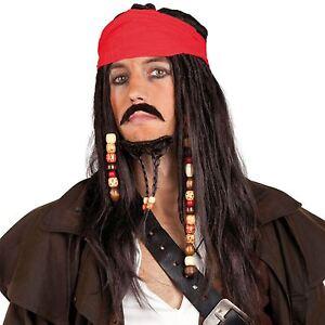Kostüm Karibischer Pirat Jack Sparrow Schwarz Dreadlocks Perücke & Kopftuch