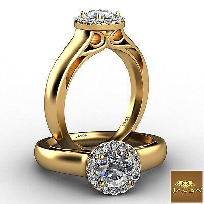 French Pave Set Halo Filigree Round Cut Diamond Engagement Ring GIA I VS2 0.91Ct