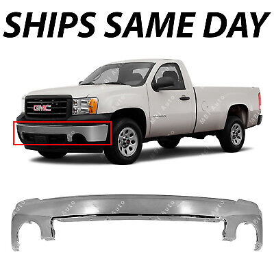 Chrome - Front Bumper Impact Face Bar for 2007-2013 GMC Sierra 1500 Pickup (Gmc Front Bumper)