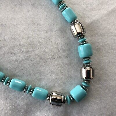 60s -70s Jewelry – Necklaces, Earrings, Rings, Bracelets Vintage Turquoise Plastic Beaded Necklace Silver Chunky 1960s $19.99 AT vintagedancer.com
