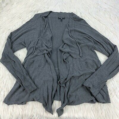 Eileen Fisher Women's M Gray Waterfall Open Front Cardigan Sweater