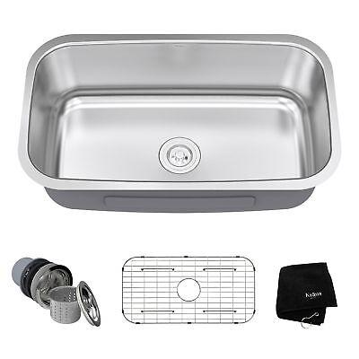 Kraus 31 Inch Rounded Corner Undermount Single Bowl Stainless Steel Kitchen Sink