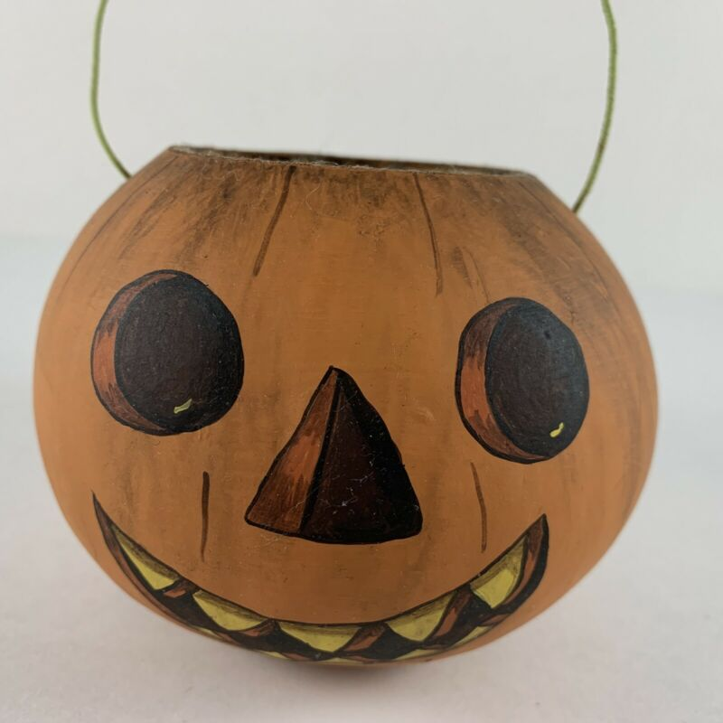 """Vintage Halloween Pulp Paper Jack o Lantern Candy Bucket Hand Painted Face 3.25"""""""