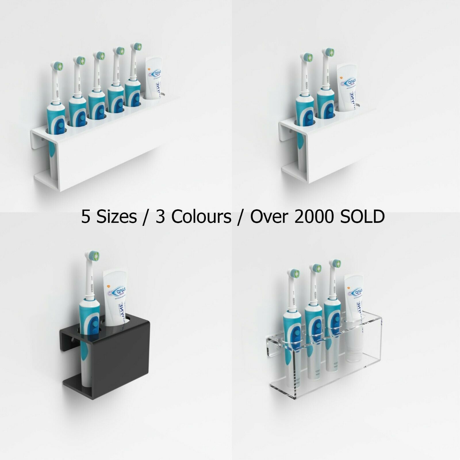 Details about Wall Mounted Electric Toothbrush Holder & Toothpaste Holder Bathroom Organiser