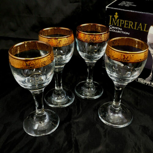 24kt Gold Hand Decorated 4 Piece Cordial Stemmed  Crystal Glass Set