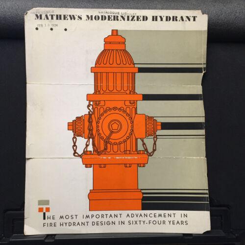 Vtg R D Wood Brochure ~ Mathews Modernized Fire Hydrant 1934