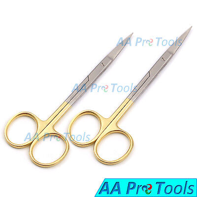 02 Piece Gold Plated Iris Scissors 4.5 Stainless Straight Surgical Instruments