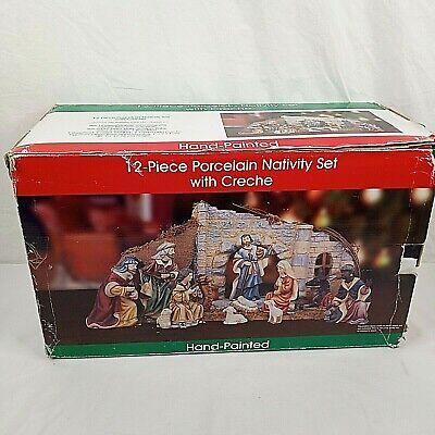 Vintage O'Well Nativity Set Christmas 12 Piece Porcelain Creche Stable