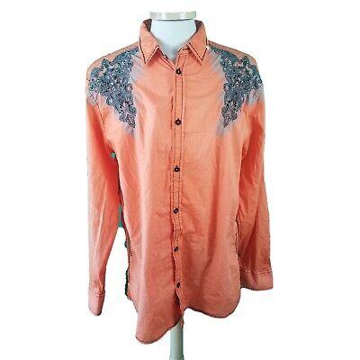Roar 2XL Orange Embellished Western Shirt Faded Distressed Cotton Blend