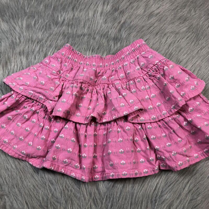 Vintage Oshkosh Bgosh Toddler Girls Pink Ruffle Tiered Skirt Made Usa