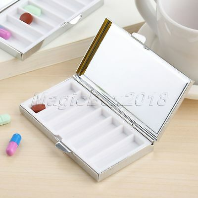 Metal 7 Day Pill Box Container Medicine Vitamin Capsule Organizer Case Rectangle Pill Box-container