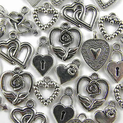 50 Mixed Tibetan Silver Heart Charm Pendants - 8 Designs 10-25mm