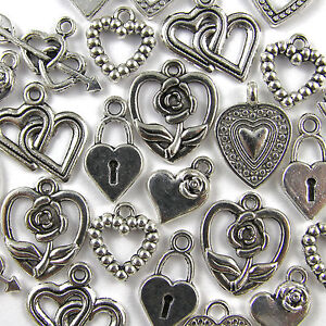 50 Mixed Tibetan Silver HEART Pendants CHARMS - 8 Designs 10-25mm