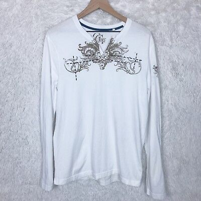 Embellished Neck Tee (Guess Mens Medium White V Neck T Shirt Graphic Tee Embellished Long Sleeve)