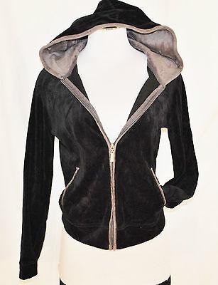 N.Y.L. Black Velour Sporty Activewear Hoodie Hood Layering Zip Sweat Shirt Top S ()