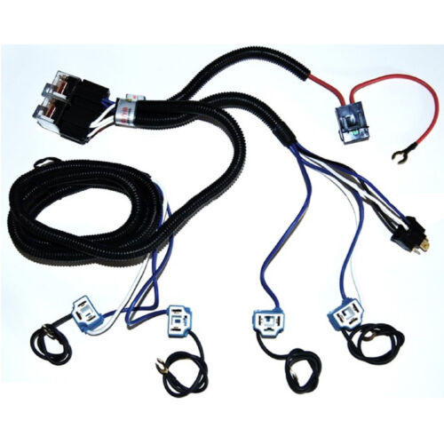 Ceramic H4 Headlight Relay Wiring Harness 4 Headlamp Light Bulb Socket Plugs Set