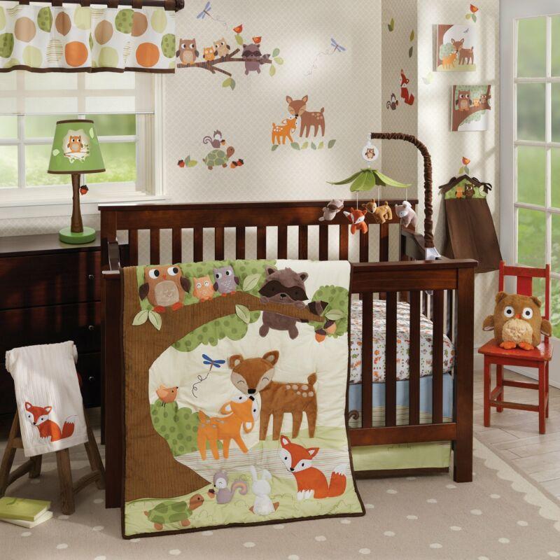 Lambs & Ivy Woodland Tales 4-Piece Crib Bedding Set - Brown, White, Green