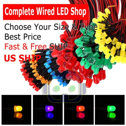 1.8mm 3mm 5mm 10 Pre Wired LED Cabled DC9-12V Diffused Lights Emitting Diodes