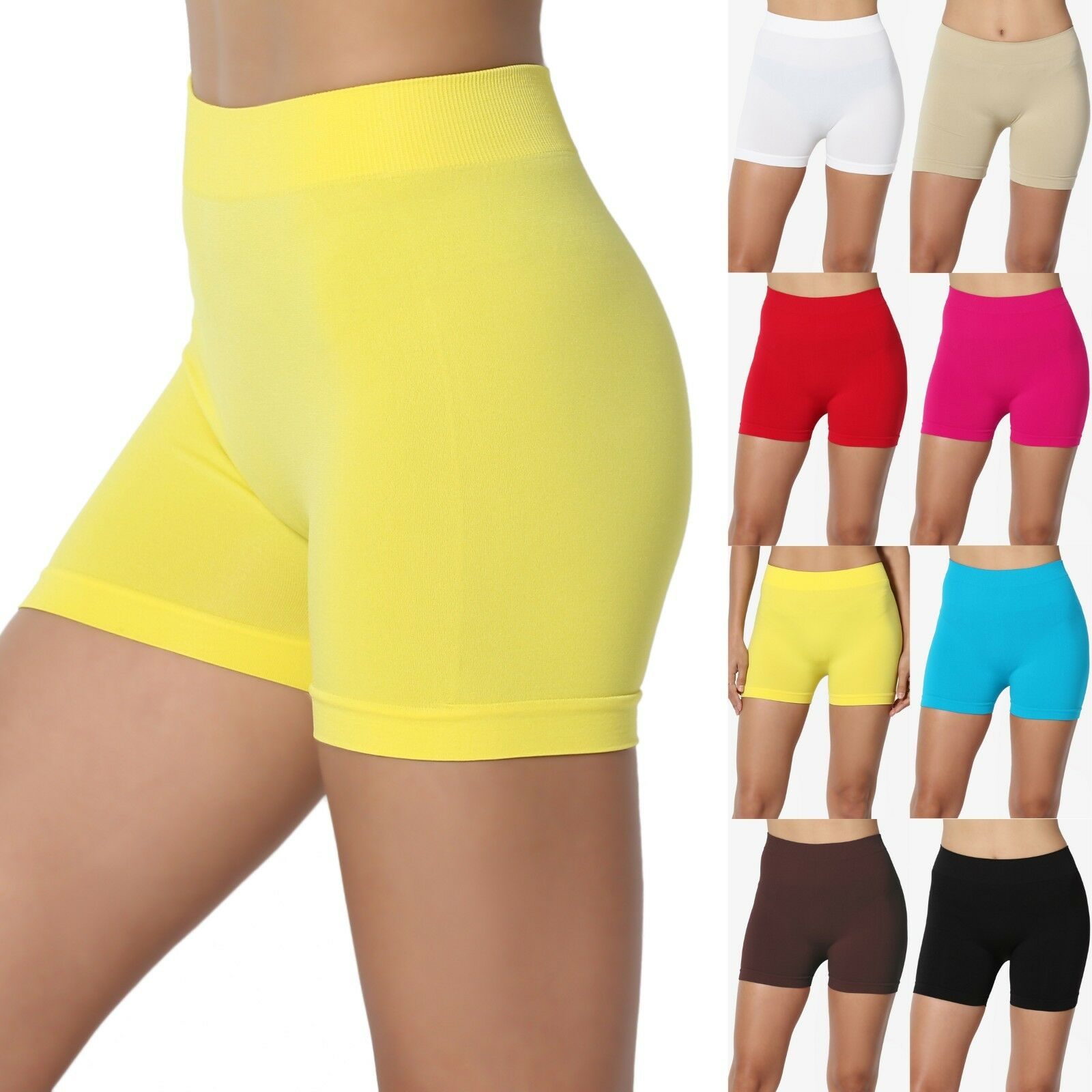 TheMogan Basic Stretch Bike Mini Boy Short Leggings Seamless
